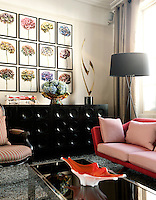 In the living room the 1960s Danish sofa was given a fresh appearance with with fabric by New Zealand based Mokum. On the 1970s sideboard from Belgium displays a 1970s sculpture by the artist Curtis Jere.