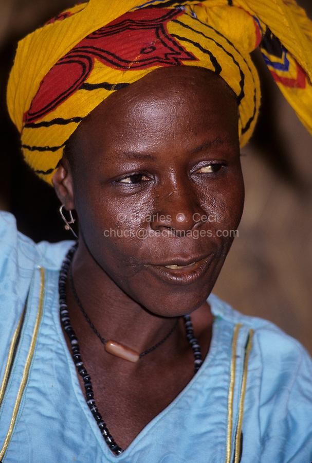 Ouna, Niger, West Africa.  Hawa, a Hausa Woman in Headscarf.
