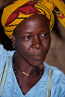 Ouna, Niger, West Africa.  Hawa, a Hausa Woman in Headscarf.