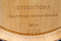 barrel with stamp evolution r chateau reysson haut medoc bordeaux france