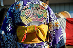 Detail view of the back of a participant in a summer kimono, during the Obon Festival at Oregon Buddhist Temple, Portland, Oregon