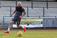 Pictured: A player prepares to take a cross. Thursday 18 January 2018<br /> Re: Players and staff of Newport County Football Club prepare at Newport Stadium, for their FA Cup game against Tottenham Hotspur in Wales, UK