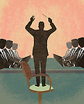 Illustration of manager giving instructions