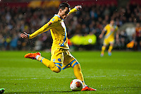 Swansea, UK. Thursday 20 February 2014<br /> Pictured: Jose Callejon of Napoli takes a ( missed ) shot at goal <br /> Re: UEFA Europa League, Swansea City FC v SSC Napoli at the Liberty Stadium, south Wales, UK
