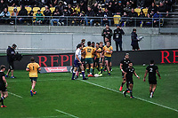 The Wallabies celebrate Marika Koroibete's try during the Bledisloe Cup rugby union match between the New Zealand All Blacks and Australia Wallabies at Sky Stadium in Wellington, New Zealand on Sunday, 11 October 2020. Photo: Dave Lintott / lintottphoto.co.nz