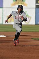 Quad Cities River Bandits Osvaldo Duarte (2) runs to third base during the Midwest League game against the Burlington Bees at Community Field on June 10, 2016 in Burlington, Iowa.  The Bees won 3-1.  (Dennis Hubbard/Four Seam Images)