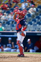 Reading Fightin Phils catcher Deivi Grullon (17) during the first game of a doubleheader against the Portland Sea Dogs on May 15, 2018 at FirstEnergy Stadium in Reading, Pennsylvania.  Portland defeated Reading 8-4.  (Mike Janes/Four Seam Images)