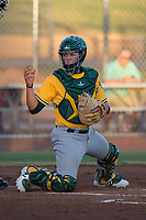 AZL Athletics catcher Matt Cross (22) during an Arizona League game against the AZL Giants Black at the San Francisco Giants Training Complex on June 19, 2018 in Scottsdale, Arizona. AZL Athletics defeated AZL Giants Black 8-3. (Zachary Lucy/Four Seam Images)