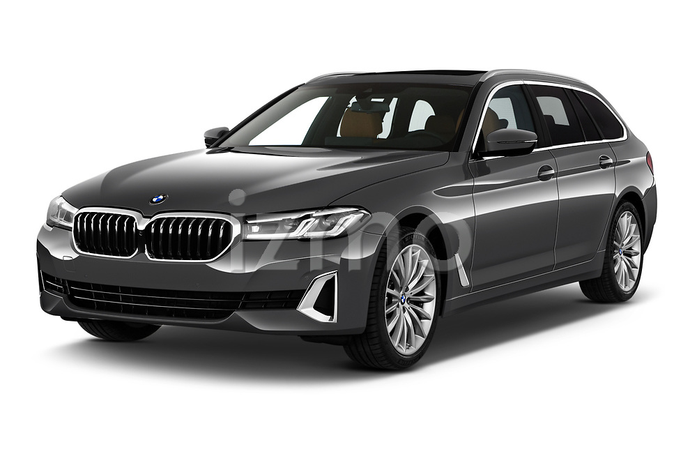 2021 BMW 5-Series Luxury 5 Door Wagon Angular Front automotive stock photos of front three quarter view