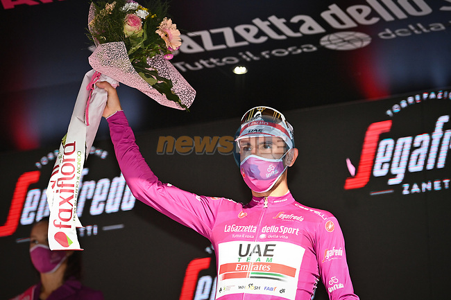 Diego Ulissi (ITA) UAE Team Emirates wins Stage 2 and takes over the points Maglia Ciclamino of the 103rd edition of the Giro d'Italia 2020 running 149km from Alcamo to Agrigento, Sicily, Italy. 4th October 2020.  <br /> Picture: LaPresse/Massimo Paolone | Cyclefile<br /> <br /> All photos usage must carry mandatory copyright credit (© Cyclefile | LaPresse/Massimo Paolone)