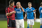 Dave Mackay Testimonial: St Johnstone v Dundee…06.10.17…  McDiarmid Park… <br />Former St Johnstone team mates Graham Gartland and Paul Sheerin pictured at full time<br />Picture by Graeme Hart. <br />Copyright Perthshire Picture Agency<br />Tel: 01738 623350  Mobile: 07990 594431