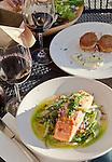 La Conner, Nell Thorn Waterfront Bistro and Pub, Waterfront Boardwalk, Swinomish Channel,  Skagit County, Washington State,