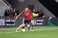 26th May 2021; STADION GDANSK  GDANSK, POLAND; UEFA EUROPA LEAGUE FINAL, Villarreal CF versus Manchester United:  Manchester United's VICTOR LINDELOF challenged by JUAN FOYTH