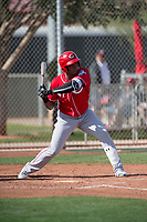 Cincinnati Reds right fielder Raul Wallace (47) during a Minor League Spring Training game against the Los Angeles Angels at the Cincinnati Reds Training Complex on March 15, 2018 in Goodyear, Arizona. (Zachary Lucy/Four Seam Images)