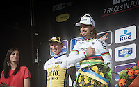 Finally the top of the podium for Peter Sagan (SVK/Tinkoff) in his rainbow jersey.<br /> Perfect timing to get his typical 'humm' going...<br /> <br /> 78th Gent - Wevelgem in Flanders Fields (1.UWT)