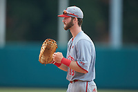 North Carolina State Wolfpack first baseman Evan Edwards (18) on defense against the Northeastern Huskies at Doak Field at Dail Park on June 2, 2018 in Raleigh, North Carolina. The Wolfpack defeated the Huskies 9-2. (Brian Westerholt/Four Seam Images)