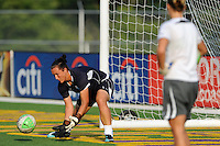 Chicago Red Stars goalkeeper Allison Whitworth (31) watches as goalkeeper Jillian Loyden (1) fields aball during warm ups. The Philadelphia Independence defeated the Chicago Red Stars 3-0 during a Women's Professional Soccer (WPS) match at John A. Farrell Stadium in West Chester, PA, on July 28, 2010.