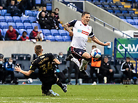Bolton Wanderers' Antoni Sarcevic (right) is fouled by Oldham Athletic's Tom Hamer<br /> <br /> Photographer Andrew Kearns/CameraSport<br /> <br /> The EFL Sky Bet League Two - Bolton Wanderers v Oldham Athletic - Saturday 17th October 2020 - University of Bolton Stadium - Bolton<br /> <br /> World Copyright © 2020 CameraSport. All rights reserved. 43 Linden Ave. Countesthorpe. Leicester. England. LE8 5PG - Tel: +44 (0) 116 277 4147 - admin@camerasport.com - www.camerasport.com