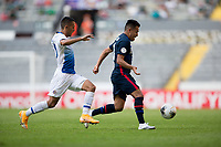 GUADALAJARA, MEXICO - MARCH 18: Sebastian Saucedo #10 of the United States chases down a ball during a game between Costa Rica and USMNT U-23 at Estadio Jalisco on March 18, 2021 in Guadalajara, Mexico.