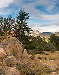 scenic view inside the Town of Estes Park, fall in the Rocky Mountains, Colorado, USA