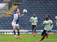 3rd October 2020; Ewood Park, Blackburn, Lancashire, England; English Football League Championship Football, Blackburn Rovers versus Cardiff City; Lewis Holtby of Blackburn Rovers control the ball with his chest as Junior Hoilett of Cardiff City looks on