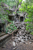 Cambodia, Beng Mealea Sanctuary Wall in Ruins, 12th. Century.