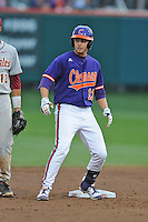 Clemson Tigers left fielder Jay Baum #13 arrives at second during a game against the Florida State Seminoles at Doug Kingsmore Stadium on March 22, 2014 in Clemson, South Carolina. The Seminoles defeated the Tigers 4-3. (Tony Farlow/Four Seam Images)