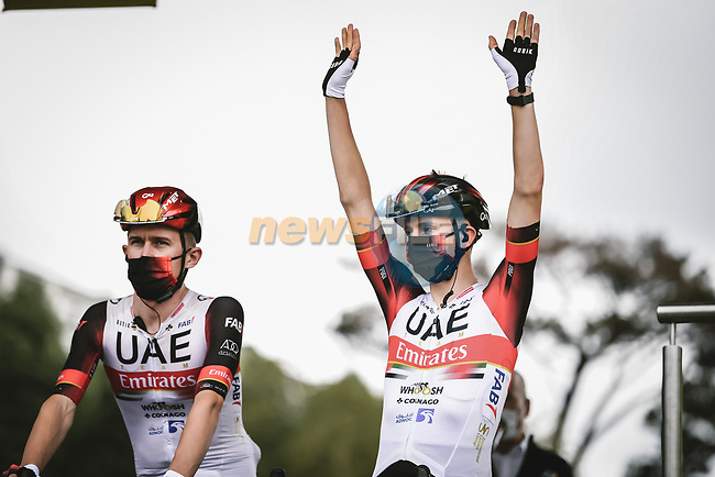 Defending Champion Tadej Pogacar (SLO) UAE Team Emirates at sign on before the start of Stage 1 of the 2021 Tour de France, running 197.8km from Brest to Landerneau, France. 26th June 2021.  <br /> Picture: A.S.O./Pauline Ballet   Cyclefile<br /> <br /> All photos usage must carry mandatory copyright credit (© Cyclefile   A.S.O./Pauline Ballet)