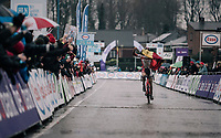 race winner Ryan Cortjens (BEL) racing blind towards victory<br /> <br /> Junior Men's Race<br /> Belgian National CX Championschips<br /> Kruibeke 2019