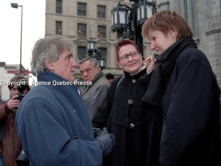 Jean-Claude Germain et <br /> Le president de l'UDA Serge Turgeon <br />  aux Funerailles de Gratien Gelinas, <br /> 19 mars 1999, a la Basilique Notre-Dame.<br /> <br /> PHOTO : Agence Quebec Pressel