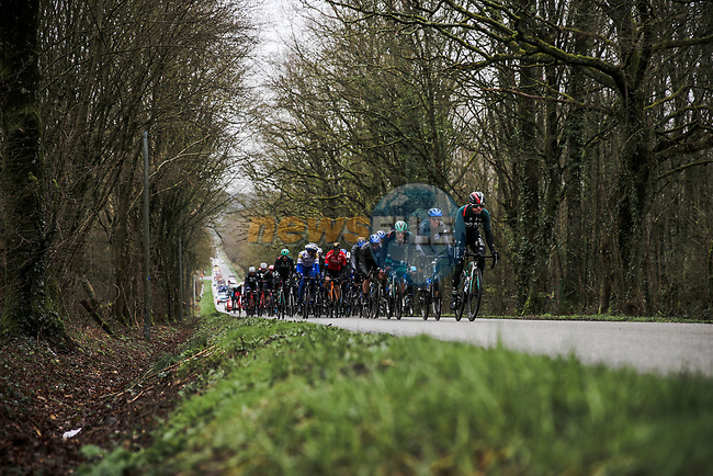 Juraj Sagan (SVK) and Bora-Hansgrohe at the front of the peloton during Stage 3 of the 78th edition of Paris-Nice 2020, running 212.5km from Chalette-sur-Loing to La Chatre, France. 10th March 2020.<br /> Picture: ASO/Fabien Boukla | Cyclefile<br /> All photos usage must carry mandatory copyright credit (© Cyclefile | ASO/Fabien Boukla)