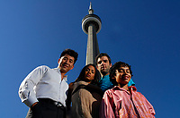 "Tower of Star Power - Cast members from the hit TV series ""Heroes"" visit Toronto's landmark the CN Tower during their two day Canadian stop on the series' World Tour. Actors Zachary Quinto, Dania Ramirez, Noah Gray-Cabbey and James Kyson Lee met with ecstatic fans, and threw the first pitch at the Blue Jay's game Friday night. Toronto was the only Canadian city on the Heroes World Tour; other stops included New York, Hong Kong, Tokyo, London, Paris, Munich and Singapore. (CNW Group/NBC Universal)"
