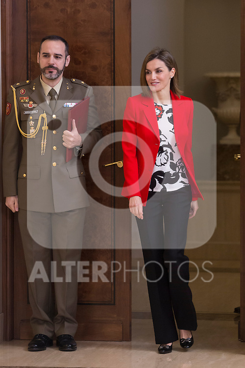 Queen Letizia of Spain attends an official meeting with ATELMA Association representatives at Zarzuela Palace in Madrid, Spain. January 26, 2015. (ALTERPHOTOS/Victor Blanco)