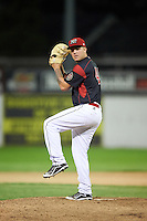 Batavia Muckdogs relief pitcher Marcus Crescentini (44) delivers a pitch during a game against the State College Spikes on June 22, 2016 at Dwyer Stadium in Batavia, New York.  State College defeated Batavia 11-1.  (Mike Janes/Four Seam Images)