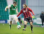 Hibs v St Johnstone....21.12.13    SPFL<br /> Paul Hanlon and Stevie May<br /> Picture by Graeme Hart.<br /> Copyright Perthshire Picture Agency<br /> Tel: 01738 623350  Mobile: 07990 594431