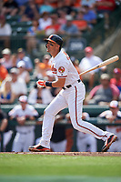Baltimore Orioles third baseman Ryan Flaherty (3) at bat during a Spring Training exhibition game against the Dominican Republic on March 7, 2017 at Ed Smith Stadium in Sarasota, Florida.  Baltimore defeated the Dominican Republic 5-4.  (Mike Janes/Four Seam Images)