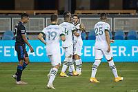 SAN JOSE, CA - SEPTEMBER 19: Portland Timbers celebrate scoring a goal during a game between Portland Timbers and San Jose Earthquakes at Earthquakes Stadium on September 19, 2020 in San Jose, California.