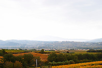 The Mont Ventoux from the north from a distance the top covered in snow. in mist, valley with villages in front, vineyards Vaucluse, France, Europe