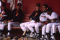 SAN FRANCISCO, CA - Will Clark, Mike Aldrete and Kevin Mitchell of the San Francisco Giants sit in the dugut during a game at Candlestick Park in San Francisco, California in 1987. Photo by Brad Mangin