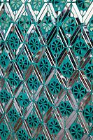 Myanmar, Burma.  Sutaungpyei Pagoda, Mandalay Hill Temple.  Geometric Design Decorating Temple Column.
