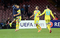 Thursday 27 February 2014<br /> Pictured: Gokhan Inler of Napoli (2nd R) celebrating his goal with team mates Lorenzo Insignie (L) Valon Behrami (3rd L) and Raul Albiol (R) to seal the win with a 3-0<br /> Re: UEFA Europa League, SSC Napoli v Swansea City FC at Stadio San Paolo, Naples, Italy.