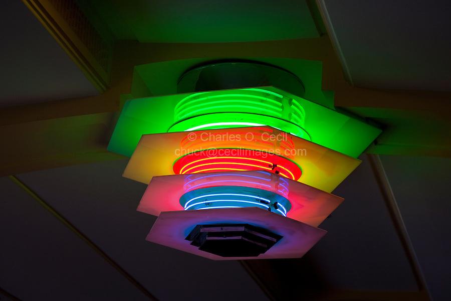 Neon Lights in Lobby of Municipal Theater, Napier, north island, New Zealand.