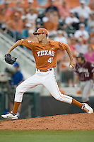 Texas Longhorns pitcher Hoby Milner #41 delivers against the Texas A&M Aggies in NCAA Big XII Conference baseball on May 21, 2011 at Disch Falk Field in Austin, Texas. (Photo by Andrew Woolley / Four Seam Images)