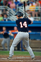 Connecticut Tigers catcher Bennett Pickar #14 during a game against the Batavia Muckdogs at Dwyer Stadium on July 4, 2012 in Batavia, New York.  Batavia defeated Connecticut 3-2.  (Mike Janes/Four Seam Images)