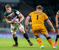 21st May 2021; Twickenham, London, England; European Rugby Challenge Cup Final, Leicester Tigers versus Montpellier; Hanro Liebenberg of Leicester Tigers looks to get past Enzo Forletta of Montpellier Rugby