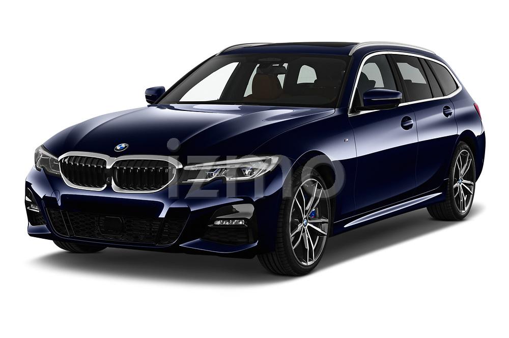2020 BMW 3-Series M-Sport 5 Door Wagon Angular Front automotive stock photos of front three quarter view