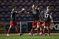 Ben Seymour (L) of Exeter City scores the second goal for his team and celebrates with his team mates during Colchester United vs Exeter City, Sky Bet EFL League 2 Football at the JobServe Community Stadium on 23rd February 2021