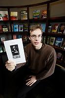 Montreal (qc) CANADA -2008 file Photo- Julien Brault, writer of<br /> PELADEAU UNE HISTOIRE DE VENGEANCE, D'ARGENT ET DE JOURNAUX,  an authorized book on Pierre Peladeau