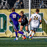 5 October 2019: University at Albany Great Dane Goalkeeper Isac Hjerten, a Freshman from Ulricehamn, Sweden, makes a save in the first half against the University of Vermont Catamounts at Virtue Field in Burlington, Vermont. The Catamounts fell to the visiting Danes 3-1 in America East, Division 1 play. Mandatory Credit: Ed Wolfstein Photo *** RAW (NEF) Image File Available ***
