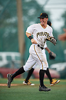 GCL Pirates shortstop Kyle Mottice (24) jogs back to the dugout during the second game of a doubleheader against the GCL Yankees East on July 31, 2018 at Pirate City Complex in Bradenton, Florida.  GCL Pirates defeated GCL Yankees East 12-4.  (Mike Janes/Four Seam Images)